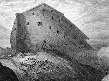El arca de Noé, contruida de cedro, pino y sellada con brea.