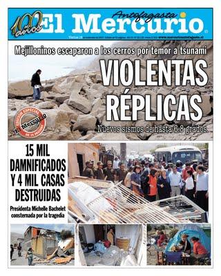Portada diario El MErcurio - Terremoto en Antofagasta